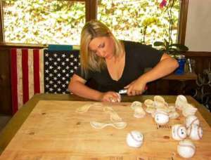 Local Artist uses baseballs to create All American works of art.