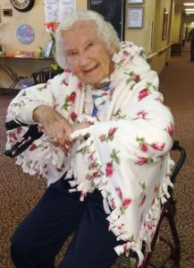 Resident Wrapped in Her New Blanket!